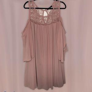 Heart Soul Pink Chiffon Shift Embroider Neck Dress
